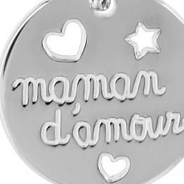 """Pendentif argent """"MAMAN D'AMOUR"""""""
