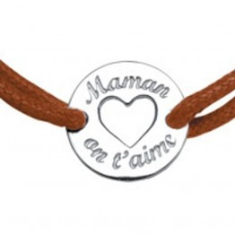 "Bracelet cordon marron avec médaillon ""Maman on t'aime"""