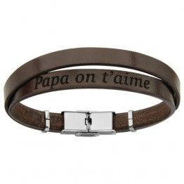 "Brown Leather Bracelet for men ""Dad we love you"""