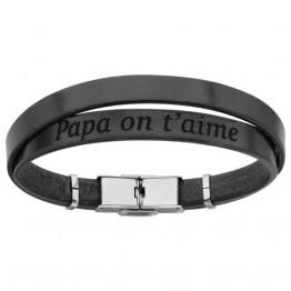 """Bracelet cuir noir homme """"Papa on t'aime"""""""