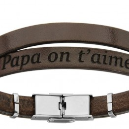 "Bracelet cuir marron homme ""Papa on t'aime"""