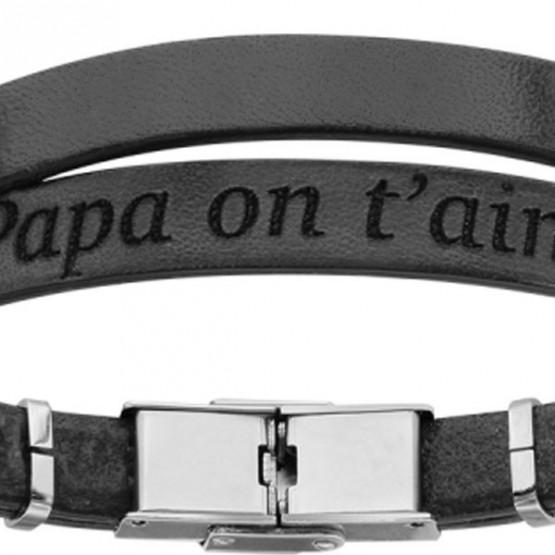 """Black Leather Bracelet for men """"Dad we love you"""""""