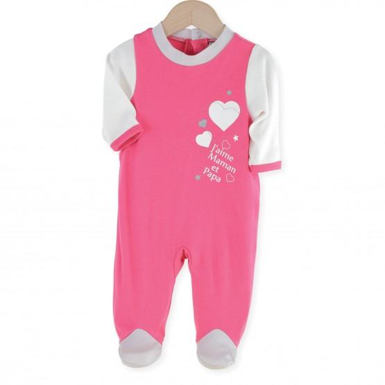 """Pyjama bébé coton fille """"J'aime Maman & Papa"""""""