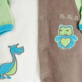 Pijama recién nacido de terciopelo Lindo Dragón