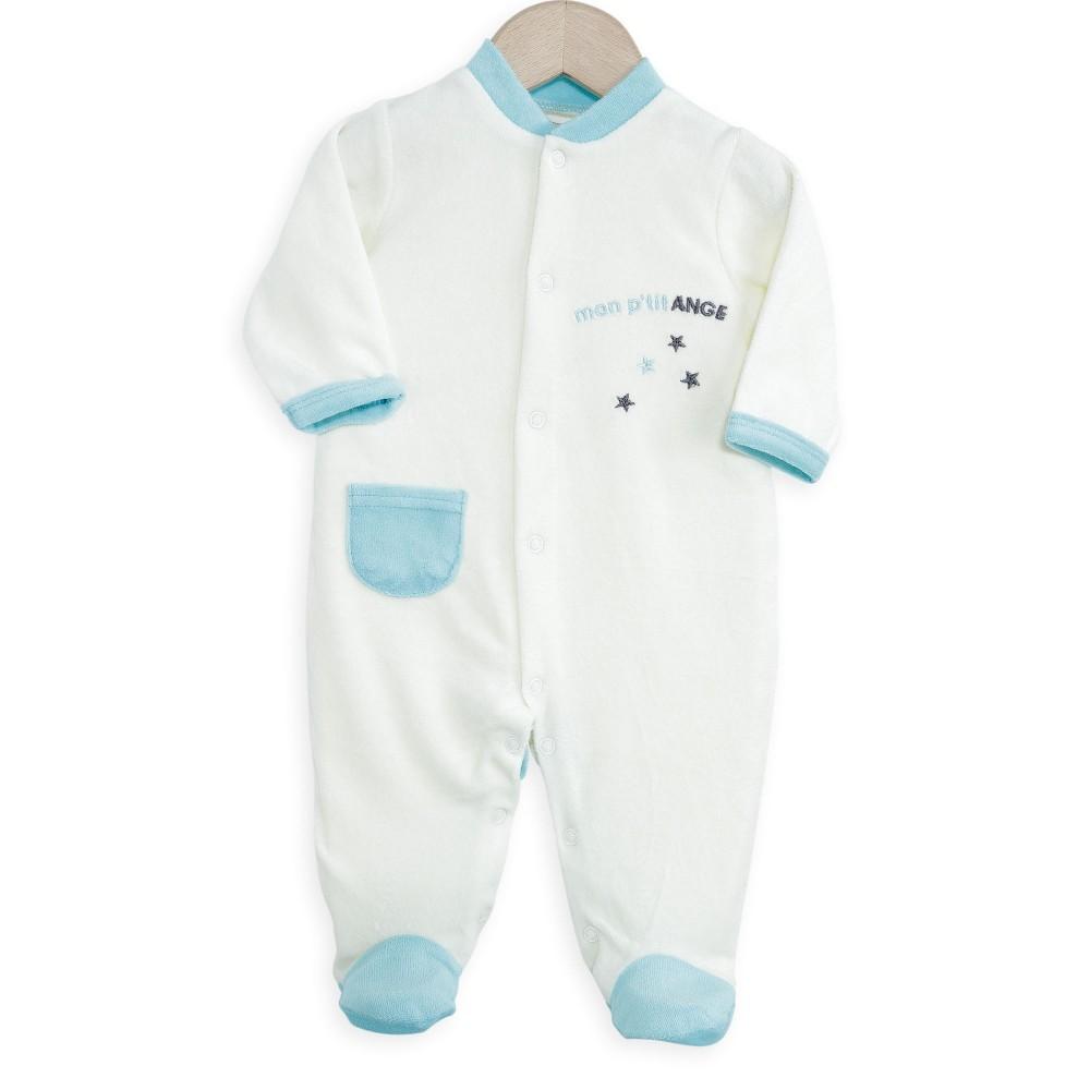 pyjama b b pas cher en velours sp cial naissance pour b b gar on kinousses. Black Bedroom Furniture Sets. Home Design Ideas