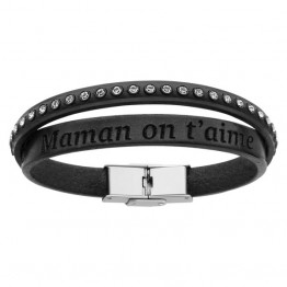 """Black leather bracelet for woman with strass """"Maman on t'aime"""""""