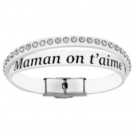 "Bracelet cuir blanc femme avec strass ""Maman on t'aime"""