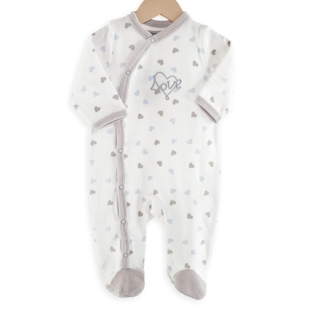pyjama naissance gar on en velours c urs imprim s kinousses. Black Bedroom Furniture Sets. Home Design Ideas