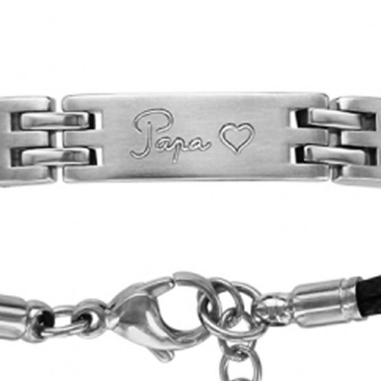 """Bracelet acier double cordon noir gravé """"Papa ❤ """""""