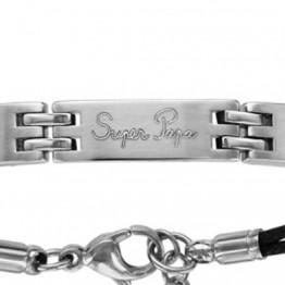 """Bracelet acier double cordon noir gravé """"Super Papa"""""""