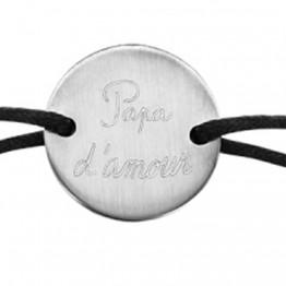 """Bracelet cordon noir avec médaillon acier """"Papa d'amour"""""""