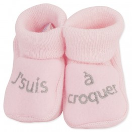 "Pack of 2 pairs of baby girl booties ""Deliciously beautiful"""