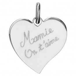 "Engraved Heart Pendant in Silver ""Granny we love you"""