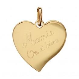 Ciondolo cuore placcato in oro con incisione « Nonna ti vogliamo bene »