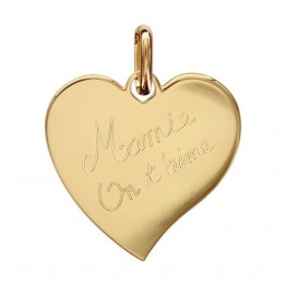 "Engraved Heart Pendant in gold ""Granny we love you"""