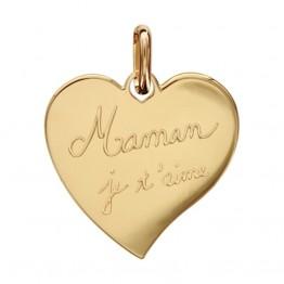"""3Ciondolo cuore in oro placcato con incisione """" Mamma ti voglio bene"""""""