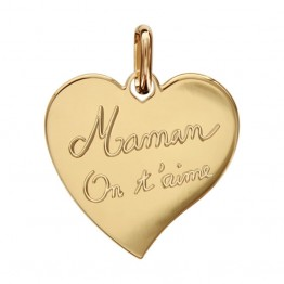 "Pendentif plaqué Or coeur ""MAMAN ON T'AIME"""