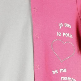 """Pyjama bébé coton """" Je suis le petit coeur de ma maman"""""""