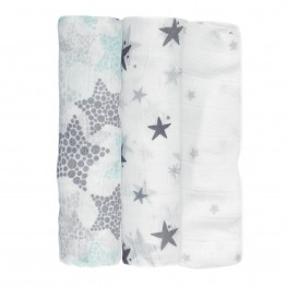 Pack of 3 cloth nappies 70*70 cms Bamboo - Stars