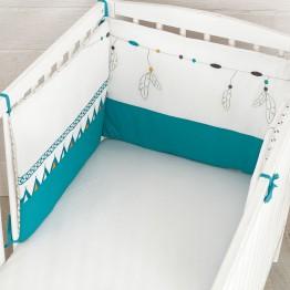 Protector de cuna bebé 100% algodón reversible - Atrapasueños