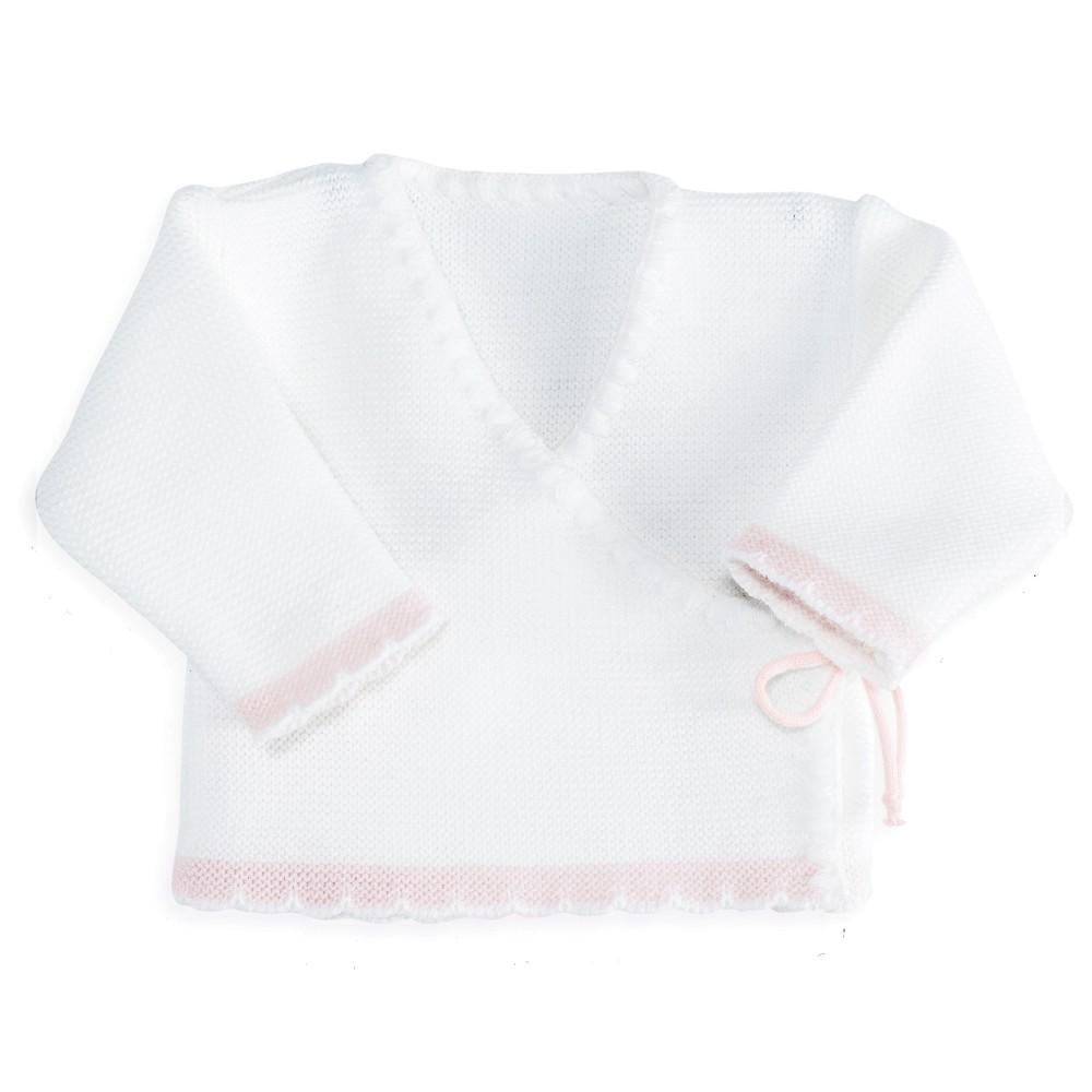 Brassière bébé maille bicolore Blanc/rose