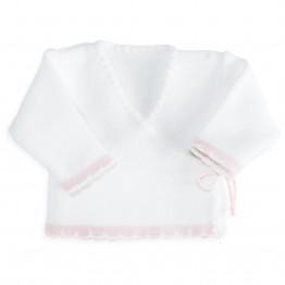 Casaquinho de bebé de malha bicolor Branco/Cor-de-rosa