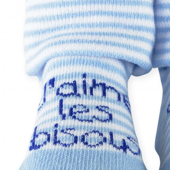 "1 baby light blue booties  ""j'aime les bisous"""