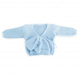 Lot Brassière bébé garçon + bonnet + chaussons maille point mousse