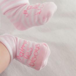 """1 paire de chaussettes bébé """"j'aime les bisous"""" rose"""