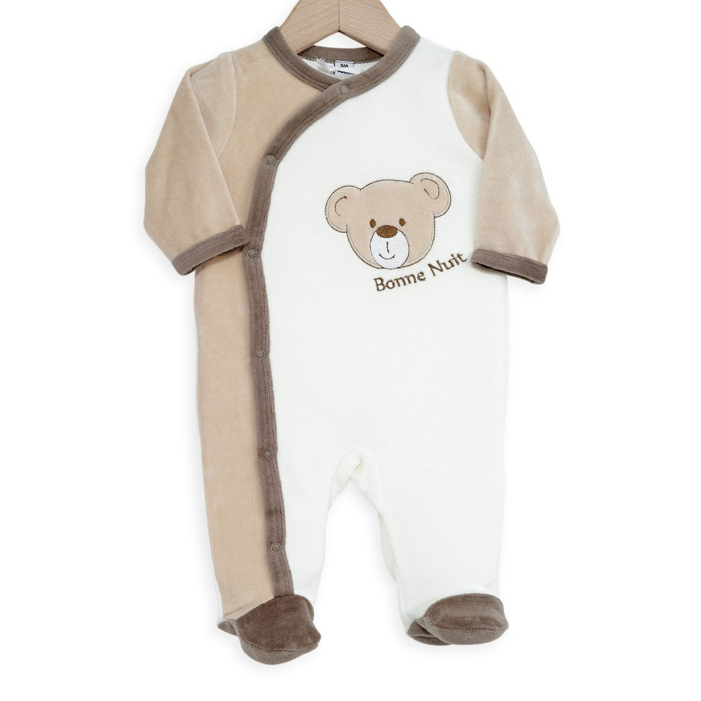 pijama beb en terciopelo color bordado choco con estampado de peluche kinousses. Black Bedroom Furniture Sets. Home Design Ideas