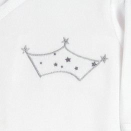 Pigiama per neonati in velluto bianco corona ricamata