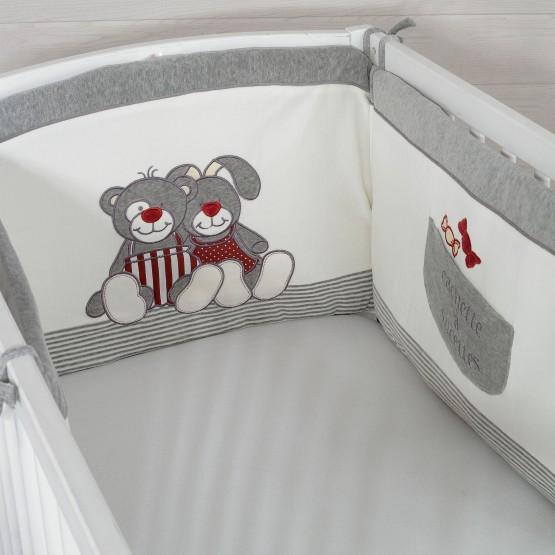 Tour de lit garçon - PRALINE ET CARAMEL gris/rouge