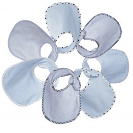 Birth bibs (set of 7) in blue sponge