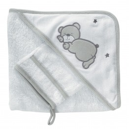 "Baby bathing suit +""Teddy bear"" face flannel"