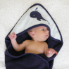 Baby bathing cape + face flannel - Whale