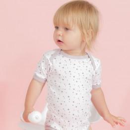 Set of 2 star printed short-sleeves baby bodies