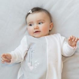 Pyjama bébé fille en velours pressionné dos - Petits noeuds