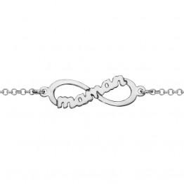 "Infinite silver bracelet ""Maman"""