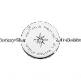 """Silver bracelet """"Meilleure maman du monde entier"""""""