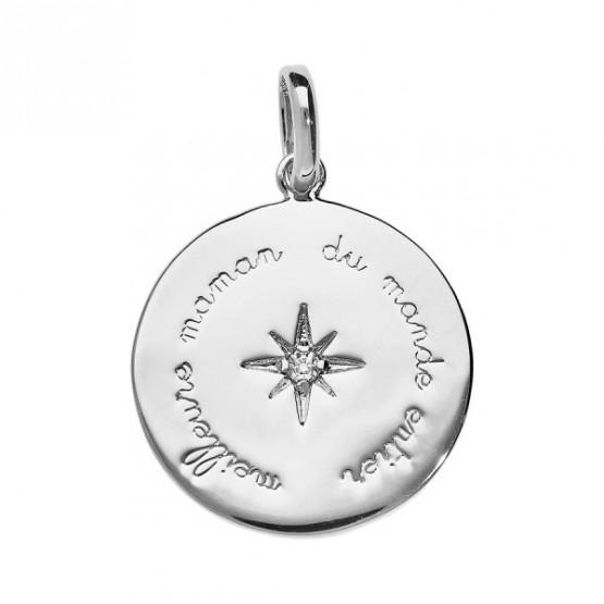 "Silver pendant ""Meilleure maman du monde entier"