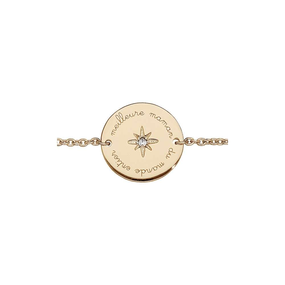 """Bracelet plaqué or """"Meilleure maman du monde entier"""""""