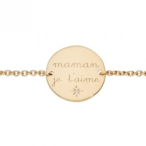 "Gold-plated chain bracelet ""Maman je t'aime"""