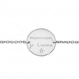 "Silver bracelet ""Maman je t'aime"""