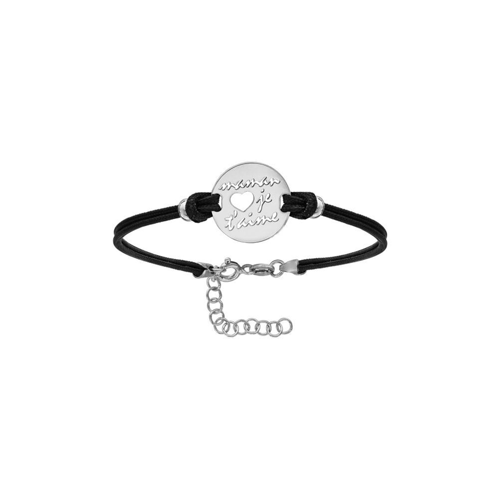 """Bracelet cordon noir avec médaillon """"Maman je t'aime"""""""