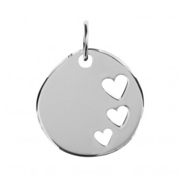 "Pebble Stone Pendant in Silver ""Heart"""