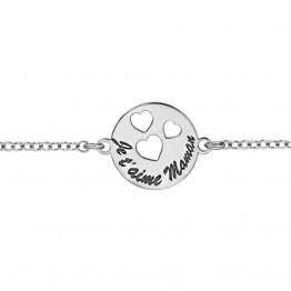 """Bracelet chaînette avec médaillon argent """"Je t'aime Maman"""""""