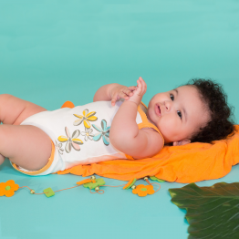 Baby summer bodysuit - Flowers of the islands