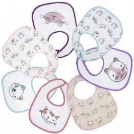 7 bavoirs bébé fille plastifiés - Petit chat