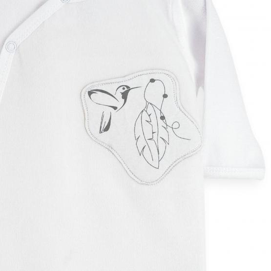 White and grey velvet baby pyjamas SMALL MESANGE