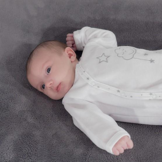 Pyjama naissance blanc en velours - Cloud